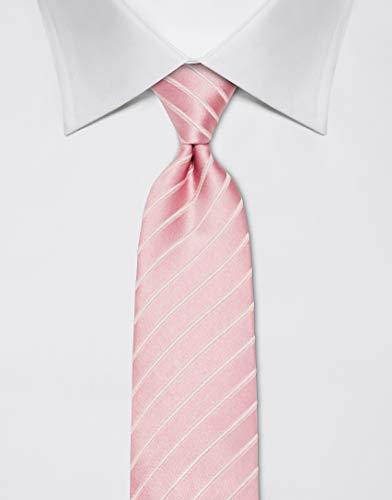 Vincenzo Boretti Herren Krawatte reine Seide Ton in Ton gestreift edel Männer-Design zum Hemd mit Anzug für Business Hochzeit 8 cm schmal/breit rosa - 2
