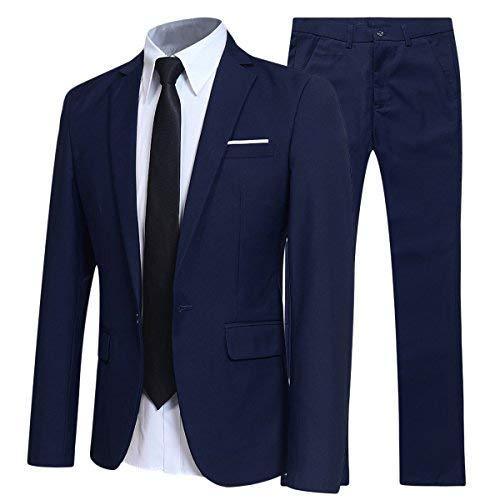 Herren Anzuug Slim Fit 2 Teilig Sakko Hose Hochzeit Marineblau S