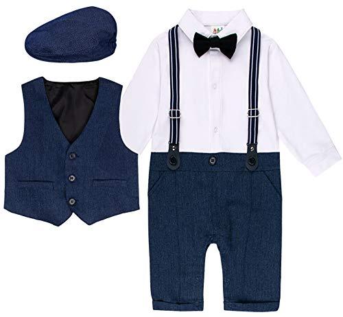 Baby Hochzeits Bodysuit mit Baskenmütze, Königsblau, 9-12 Monate (Herstellergröße: 80)