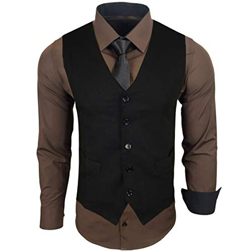 Herren Hemd mit Weste, Größe: L, Farbe: Braun