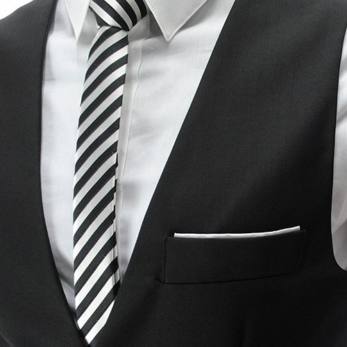 YaoDgFa Herren Weste Anzug + Fliege Smoking Sakko Anzugweste Herrenweste Herrenanzug slim fit Hochzeit feierlich Elegant, Schwarz, XL - 2