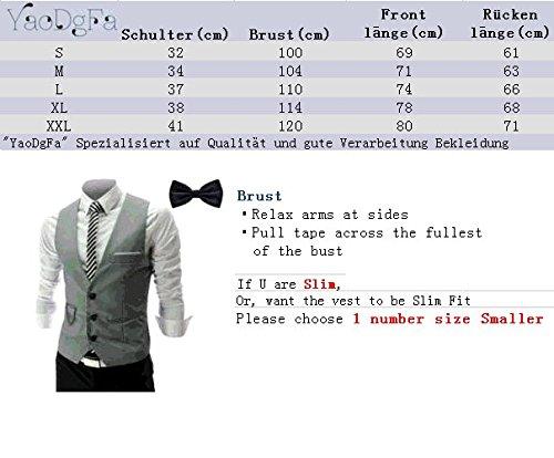 YaoDgFa Herren Weste Anzug + Fliege Smoking Sakko Anzugweste Herrenweste Herrenanzug slim fit Hochzeit feierlich Elegant, Schwarz, XL - 6