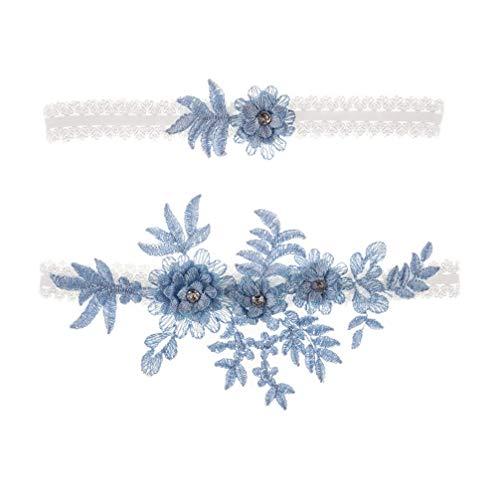 Amosfun 2 stücke Hochzeit Strumpfband Blume Spitze Strass elastische brautstrumpfbänder für Brautjungfer Hochzeit zugunsten Dekoration blau - 9