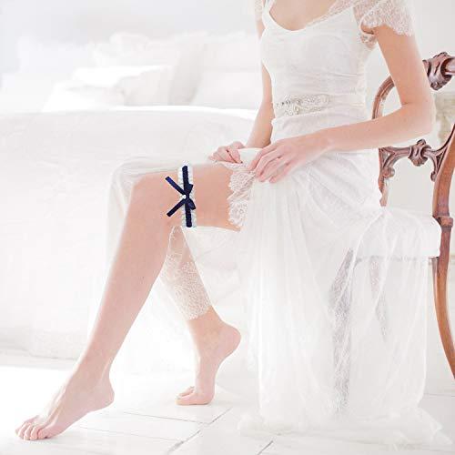 ILLUVA Blau Weisses Strumpfband für Hochzeit - Braut Geschenk - Wedding Garters - etwas Blaue - 2