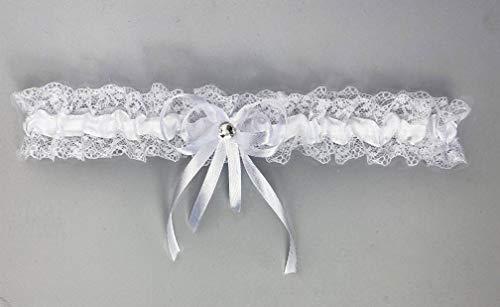 Pet-Jos Braut-Strumpfband für Braut Strumpfband weiße Spitze mit weißem Satinband und glänzendem Kristall Spitze Strumpfband Brautschmuck Hochzeitsstrumpfband Braut Geschenetwas Blau - 2