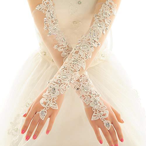 Spitzen Brauthandschuhe, Weiß, Diamant