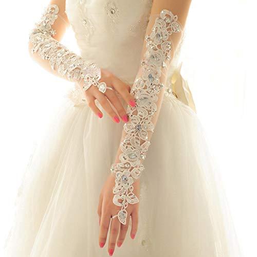 MoreChioce Damen Spitze Handschuhe,Hochzeit Braut Handschuhe Strass Armstulpen Frauen Lange Handschuhe Elastisch Lace Hochzeithandschuhe Hochzeit Party Abend Handschuhe,Weiß Diamant - 3
