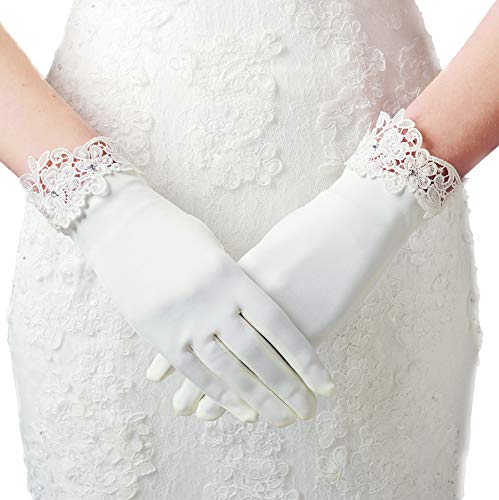 Braut Handschuhe Accessoires (Weiß Lace)