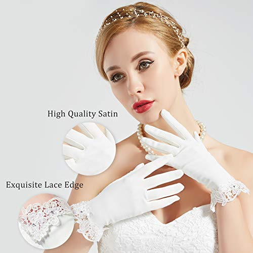 ArtiDeco Hochzeit Braut Handschuhe Opera Fest Party Damen Handschuhe Kostüm Accessoires (Weiß Lace) - 3
