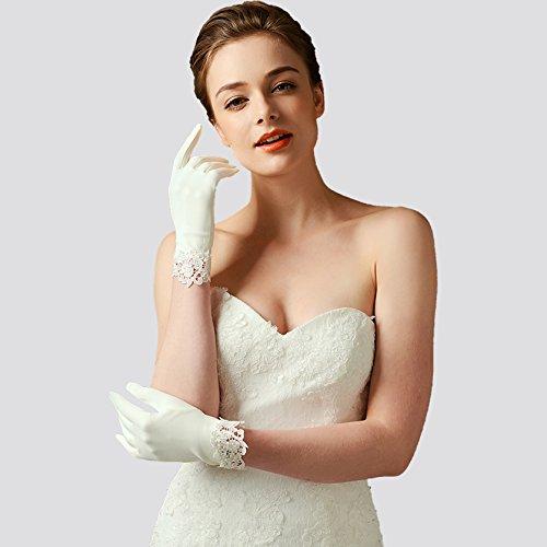ArtiDeco Hochzeit Braut Handschuhe Opera Fest Party Damen Handschuhe Kostüm Accessoires (Weiß Lace) - 4