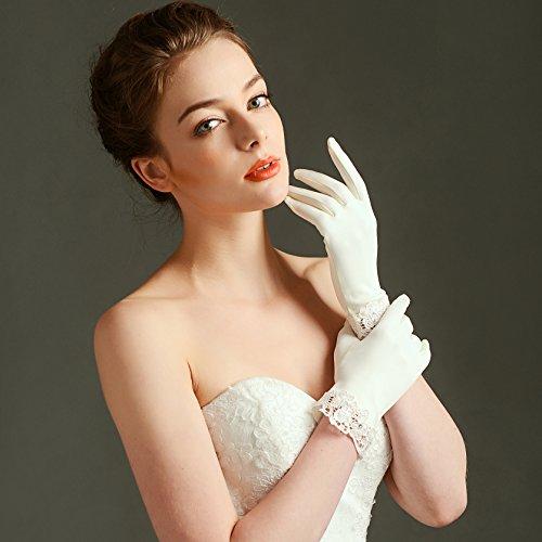ArtiDeco Hochzeit Braut Handschuhe Opera Fest Party Damen Handschuhe Kostüm Accessoires (Weiß Lace) - 5