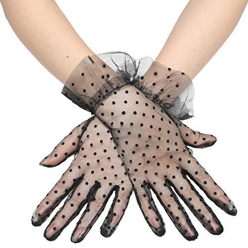 Handschuhe transparent (Kurz - Schwarz Dot)
