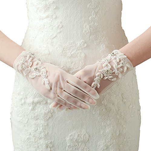 Damen Lace Handschuhe Satin (Kurz Weiß)