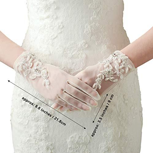 ArtiDeco Damen Lace Handschuhe Satin Braut Hochzeit Spitze Handschuhe Opera Fest Party Handschuhe 1920s Handschuhe Damen Kostüm Accessoires (Kurz Weiß) - 2