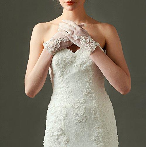 ArtiDeco Damen Lace Handschuhe Satin Braut Hochzeit Spitze Handschuhe Opera Fest Party Handschuhe 1920s Handschuhe Damen Kostüm Accessoires (Kurz Weiß) - 3