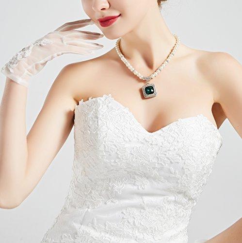 ArtiDeco Damen Lace Handschuhe Satin Braut Hochzeit Spitze Handschuhe Opera Fest Party Handschuhe 1920s Handschuhe Damen Kostüm Accessoires (Kurz Weiß) - 4