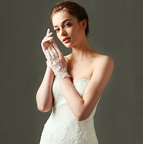 ArtiDeco Damen Lace Handschuhe Satin Braut Hochzeit Spitze Handschuhe Opera Fest Party Handschuhe 1920s Handschuhe Damen Kostüm Accessoires (Kurz Weiß) - 5
