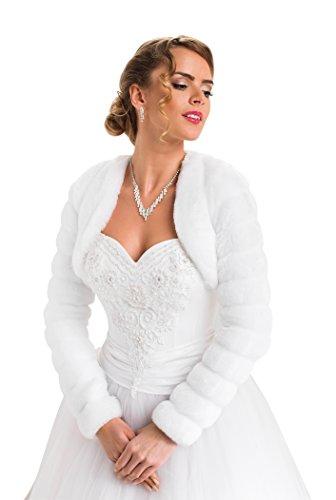 Bolero Hochzeit Jacke Pelerine für die Braut, Pelzstola langer Ärmel volles Futter, Weiß, Gr. 36