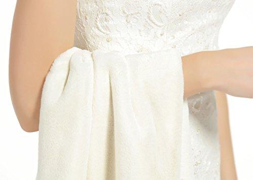 BEAUTELICATE Kunstpelz Schal Stola Bolero Pelz Damen Für Frauen Hochzeit Braut Abend Brautschal Brautstola, Elfenbein, - 7