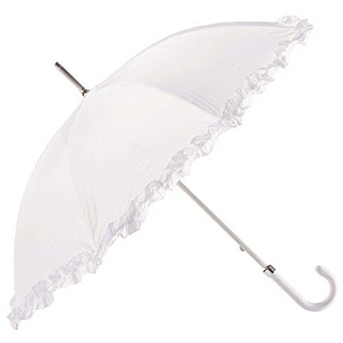 Sonnenschirm, klassisch, lang, für Hochzeit, manuelle Öffnung, Pongee-Stoff mit Ruffle