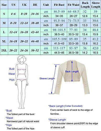 GRACE KARIN Damen Cropped Knit Bolero für Kleid Open Front Kurz Strickjacke Elegant Cardigan M CL960-2 - 3