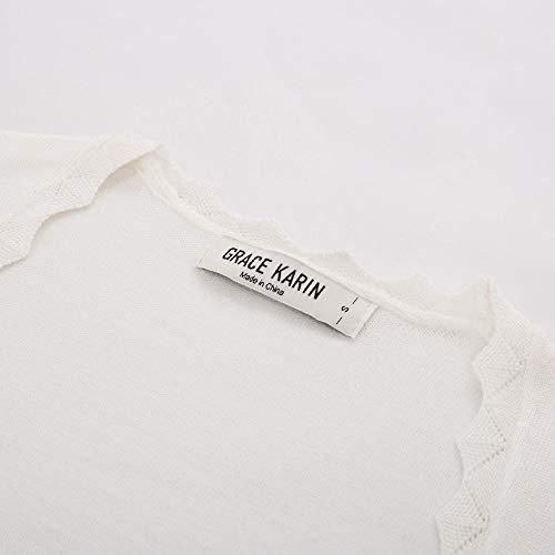 GRACE KARIN Damen Cropped Knit Bolero für Kleid Open Front Kurz Strickjacke Elegant Cardigan M CL960-2 - 4