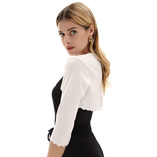 GRACE KARIN Damen Cropped Knit Bolero für Kleid Open Front Kurz Strickjacke Elegant Cardigan M CL960-2 - 7