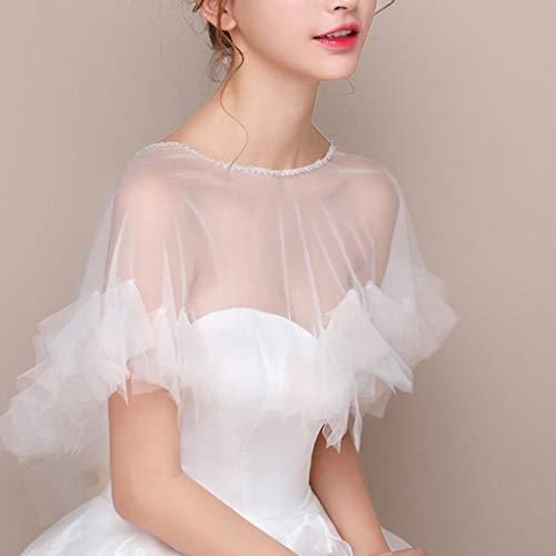 JERKKY Schal 1 Stück Womens Hochzeit Cape Sheer Tüll Rüschen Trim Bridal Capelet Bolero Damen Pullover Rundhalsausschnitt Shrug Wrap für Dress Cover Up - 2