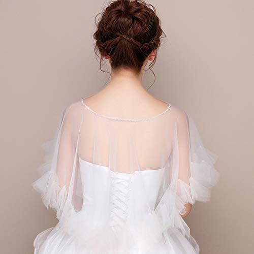 JERKKY Schal 1 Stück Womens Hochzeit Cape Sheer Tüll Rüschen Trim Bridal Capelet Bolero Damen Pullover Rundhalsausschnitt Shrug Wrap für Dress Cover Up - 3