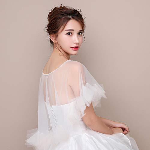 JERKKY Schal 1 Stück Womens Hochzeit Cape Sheer Tüll Rüschen Trim Bridal Capelet Bolero Damen Pullover Rundhalsausschnitt Shrug Wrap für Dress Cover Up - 5