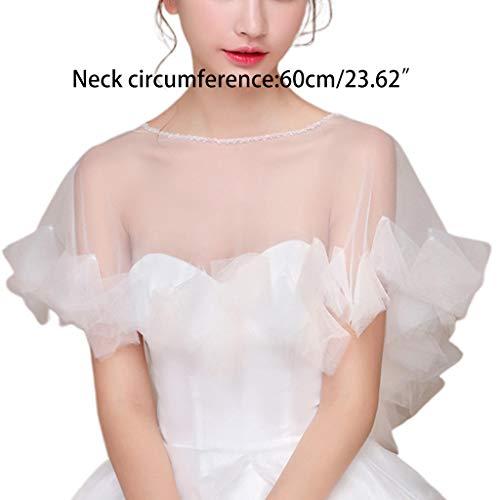 JERKKY Schal 1 Stück Womens Hochzeit Cape Sheer Tüll Rüschen Trim Bridal Capelet Bolero Damen Pullover Rundhalsausschnitt Shrug Wrap für Dress Cover Up - 6