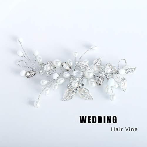 Unicra Silberhochzeit Kristall Haar Reben Blume Blatt Kopfschmuck Hochzeit Haarschmuck für die Braut (Silber) - 3