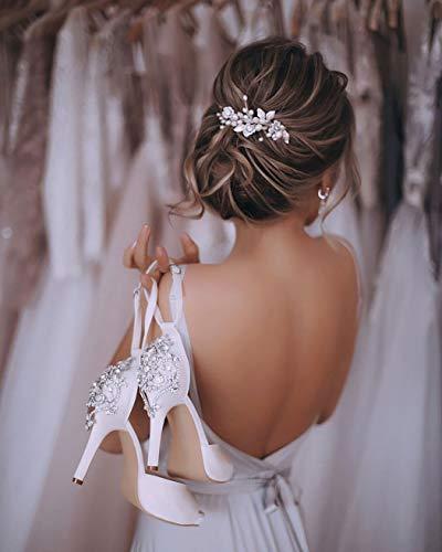 Unicra Silberhochzeit Kristall Haar Reben Blume Blatt Kopfschmuck Hochzeit Haarschmuck für die Braut (Silber) - 4