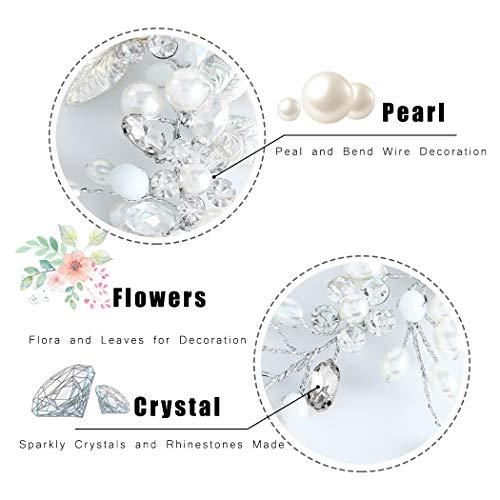 Unicra Silberhochzeit Kristall Haar Reben Blume Blatt Kopfschmuck Hochzeit Haarschmuck für die Braut (Silber) - 5