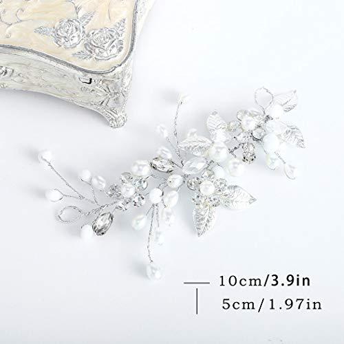 Unicra Silberhochzeit Kristall Haar Reben Blume Blatt Kopfschmuck Hochzeit Haarschmuck für die Braut (Silber) - 6