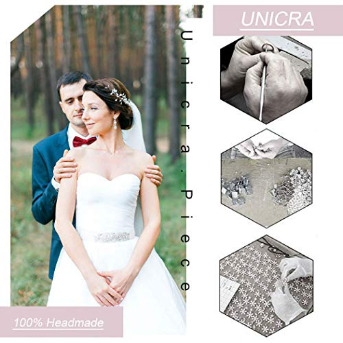 Unicra Silberhochzeit Kristall Haar Reben Blume Blatt Kopfschmuck Hochzeit Haarschmuck für die Braut (Silber) - 7