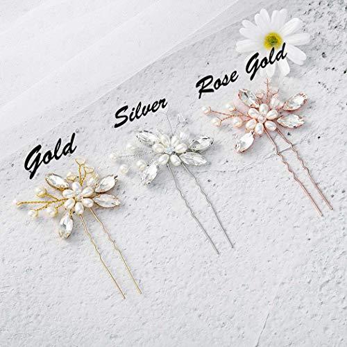 Einfach Braut Kristall Hochzeit Haarnadeln Silber Haarspangen Braut Kopfschmuck Haarschmuck Perle für Frauen und Mädchen (Silber) - 3