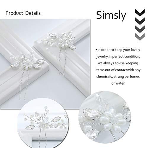 Einfach Braut Kristall Hochzeit Haarnadeln Silber Haarspangen Braut Kopfschmuck Haarschmuck Perle für Frauen und Mädchen (Silber) - 4