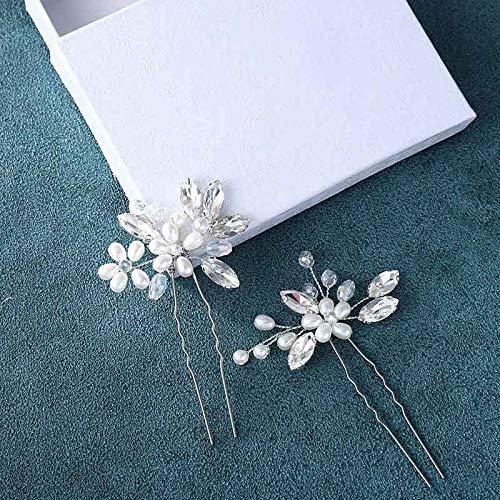 Einfach Braut Kristall Hochzeit Haarnadeln Silber Haarspangen Braut Kopfschmuck Haarschmuck Perle für Frauen und Mädchen (Silber) - 5