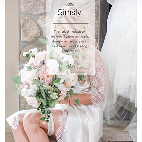 Einfach Braut Kristall Hochzeit Haarnadeln Silber Haarspangen Braut Kopfschmuck Haarschmuck Perle für Frauen und Mädchen (Silber) - 7
