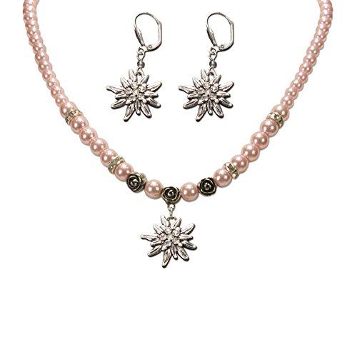 Alpenflüstern Trachtenschmuck-Set Perlen-Trachtenkette und Trachten-Ohrhänger