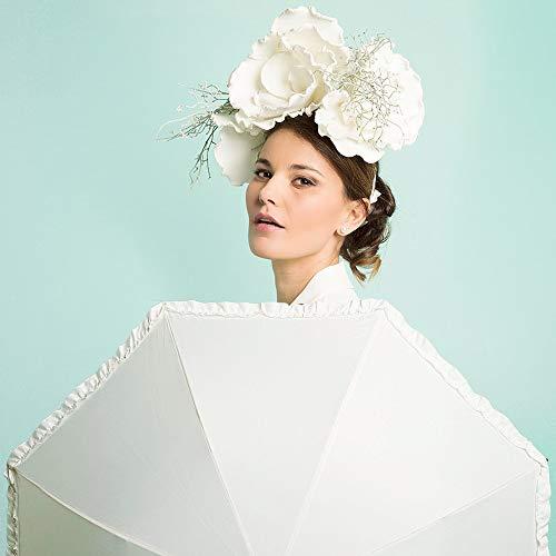 Elfenbeinweiß Brautschirm mit Rüschen - Hochzeit Regenschirm/Sonnenschirm - automatische Öffnung Schirm - Perletti (Rüschen) - 2