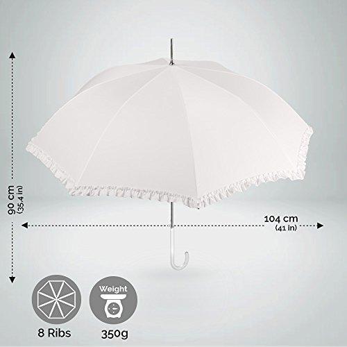 Elfenbeinweiß Brautschirm mit Rüschen - Hochzeit Regenschirm/Sonnenschirm - automatische Öffnung Schirm - Perletti (Rüschen) - 3