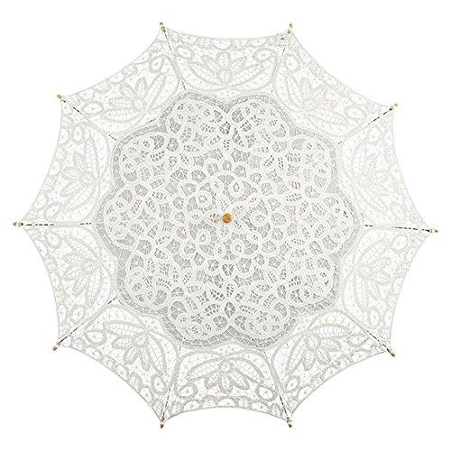 VON LILIENFELD Hochzeitsschirm Brautschirm Vivienne Elfenbein Ivory Spitze Deko Sonnenschirm Accessoire - 2