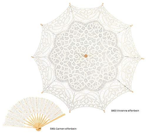 VON LILIENFELD Hochzeitsschirm Brautschirm Vivienne Elfenbein Ivory Spitze Deko Sonnenschirm Accessoire - 4