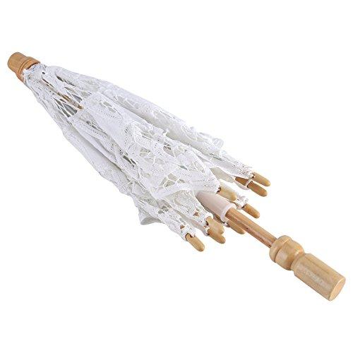 Yosoo Spitze Regenschirm Vintage Hochzeit Spitze Stickerei Reine Baumwolle Dame Braut Hochzeit Sonnenschirm Dekoration Foto Requisiten(Small-weiß) - 2