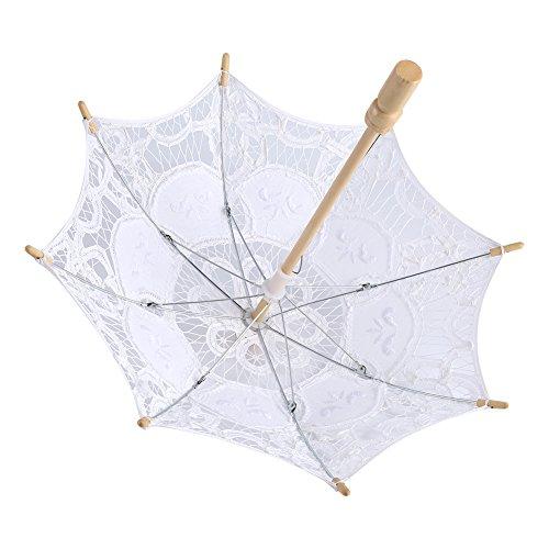 Yosoo Spitze Regenschirm Vintage Hochzeit Spitze Stickerei Reine Baumwolle Dame Braut Hochzeit Sonnenschirm Dekoration Foto Requisiten(Small-weiß) - 3
