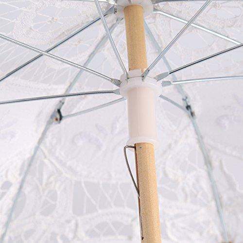 Yosoo Spitze Regenschirm Vintage Hochzeit Spitze Stickerei Reine Baumwolle Dame Braut Hochzeit Sonnenschirm Dekoration Foto Requisiten(Small-weiß) - 4