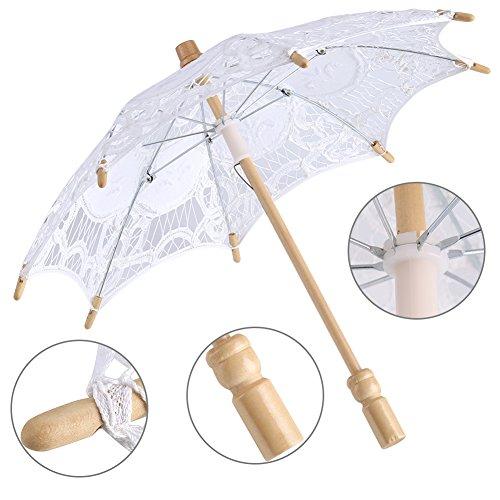 Yosoo Spitze Regenschirm Vintage Hochzeit Spitze Stickerei Reine Baumwolle Dame Braut Hochzeit Sonnenschirm Dekoration Foto Requisiten(Small-weiß) - 5