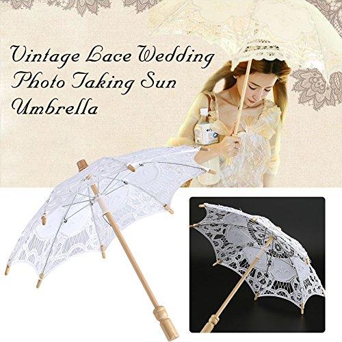 Yosoo Spitze Regenschirm Vintage Hochzeit Spitze Stickerei Reine Baumwolle Dame Braut Hochzeit Sonnenschirm Dekoration Foto Requisiten(Small-weiß) - 7